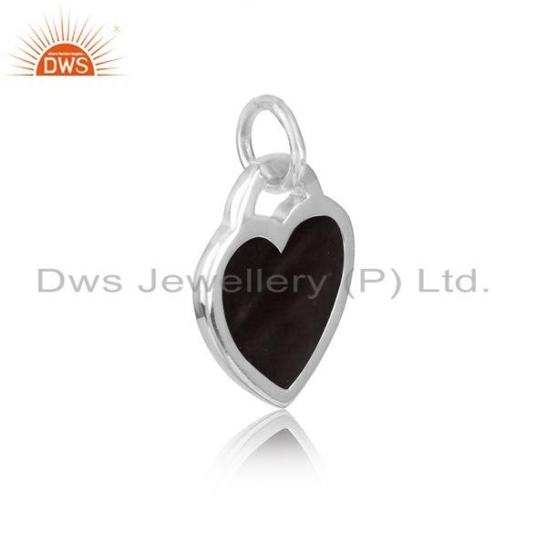 Silver 925 dainty charm with black enamel and white rhodium