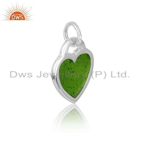Silver 925 dainty charm with green enamel and white rhodium