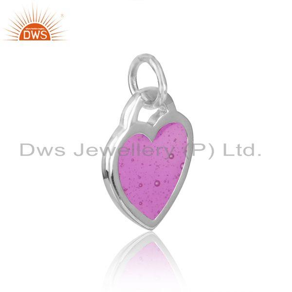 Silver 925 dainty charm with purple enamel and white rhodium