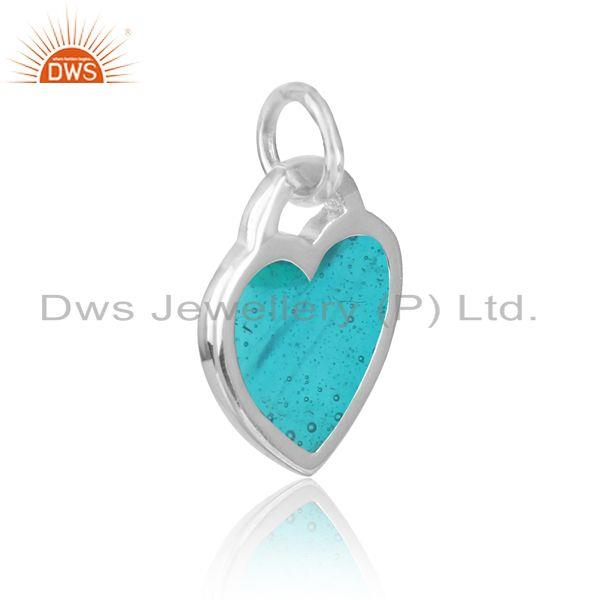 Silver 925 dainty charm with sky blue enamel and white rhodium