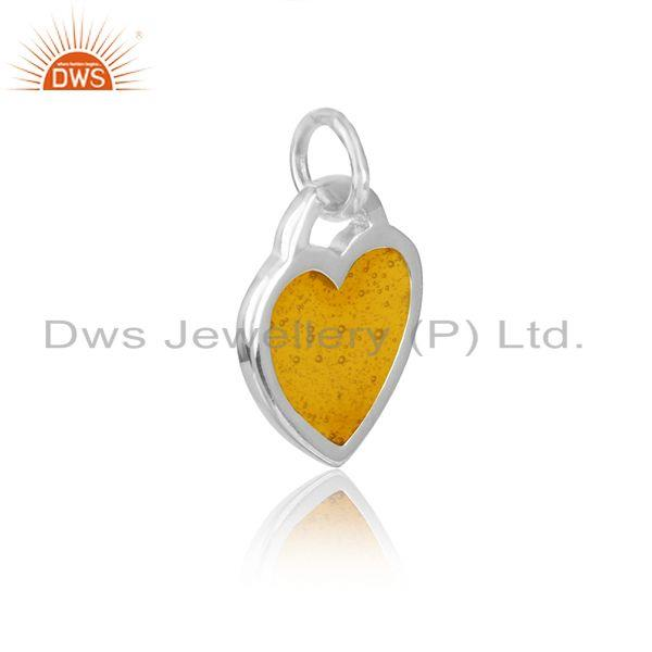 Silver 925 dainty charm with yellow enamel and white rhodium