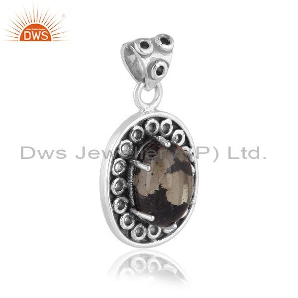 Oval doublet apache gold crystal set oxidized silver pendant