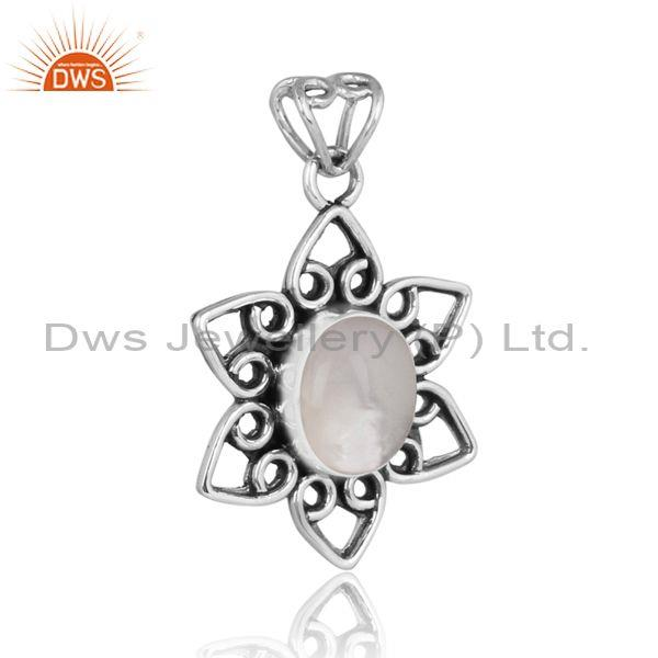 Doublet mother of pearl crystal set oxidized silver pendant