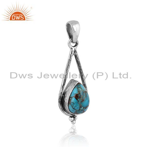 Mojave copper turquoise oxidized silver pear shaped pendant