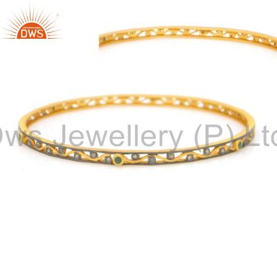 Supplier of 18k yellow gold over sterling silver pave diamond emerald bangle