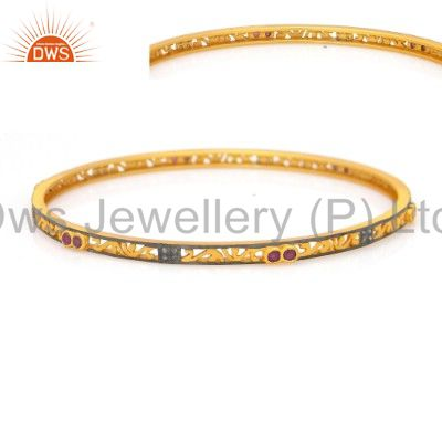 Supplier of 18k gold over 925 silver ruby pave diamond sleek bangle for womens