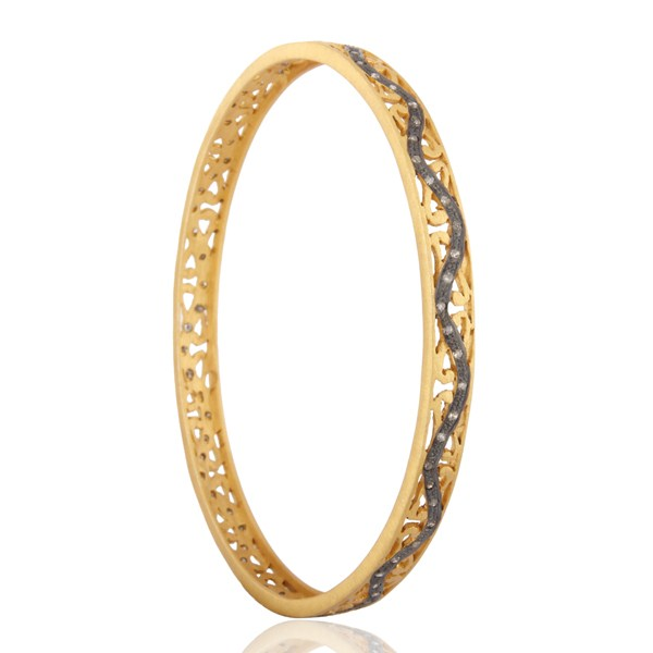 Supplier of 18k gold 925 silver pave set diamond sleek bangle gift for her