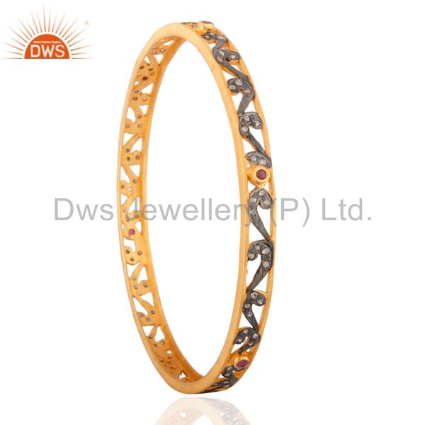 Supplier of Beautiful designer 18k gold on 925 silver ruby and diamond bangle
