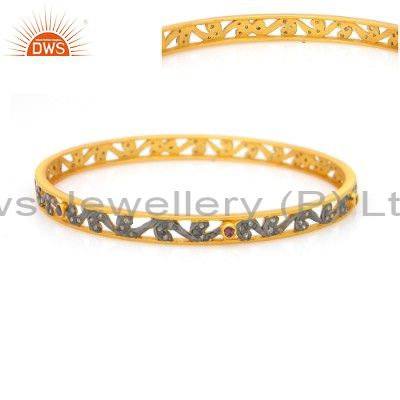 Supplier of Multi color cz sleek 14k yellow gold plated 925 sterling bangles