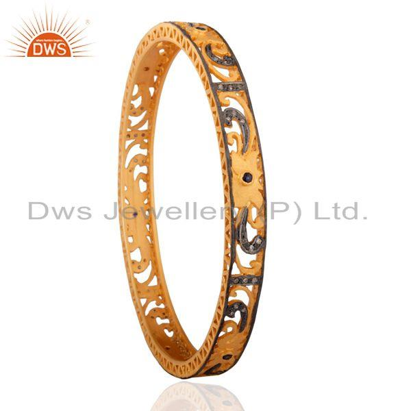 Supplier of 0.39 cts fine round blue sapphire diamond bangle jewelry 24k gold