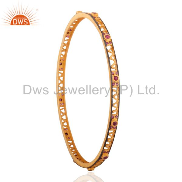 Supplier of Women fashion solid silver ruby gemstone 18k gold plated bangles
