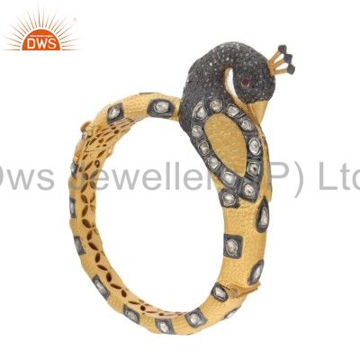 Supplier of 18k yellow gold 925 silver rose cut diamond ruby peacock bangle