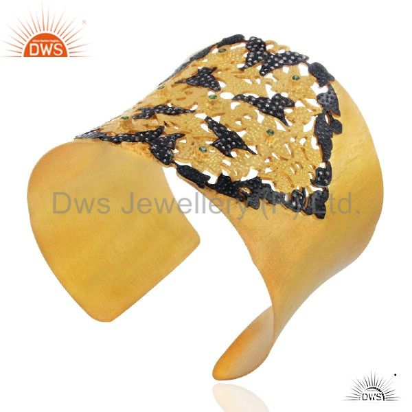 Exporter 18K Gold Plated Sterling Silver Cubic Zirconia Hammered Wide Cuff Bracelet