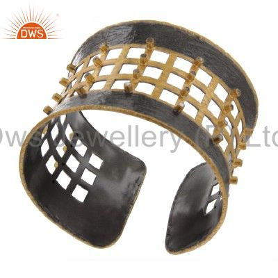 Exporter Oxidized And 18K Gold Sterling Silver Pave Diamond Designer Wide Cuff Bracelet