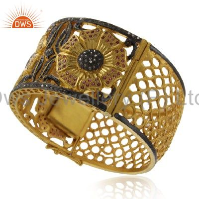 Supplier of 18k yellow gold silver pave diamond ruby designer wide cuff bangle