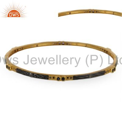 Supplier of 18k yellow gold over 925 silver pave diamond blue sapphire bangle
