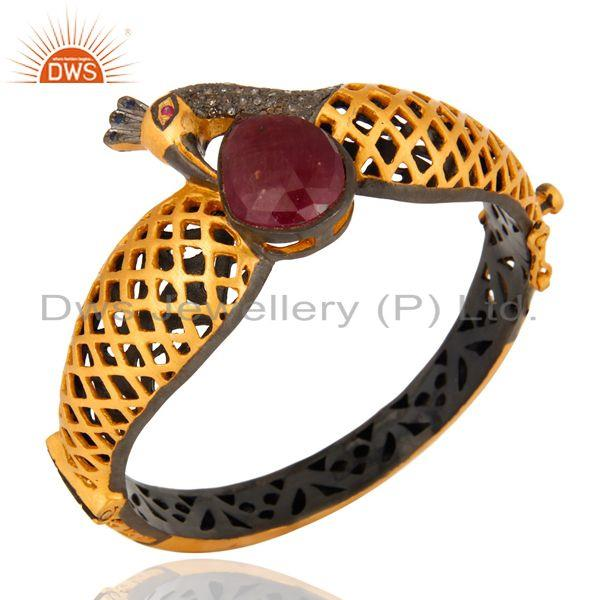 Supplier of Ruby pave diamond 18k gold on silver peacock design fashion bangle