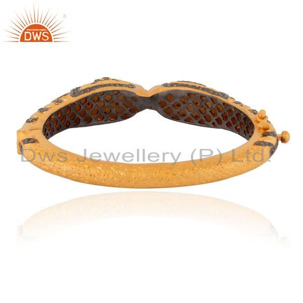 Supplier of 2.19ct real diamond pave 18k gold 925 silver peacock design bangle