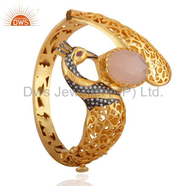 Supplier of 18k gold rose chalcedony unique peacock design openable bangle cz