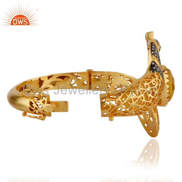 Supplier of 14k gold on yellow moonstone womens fashion peacock bangle with cz