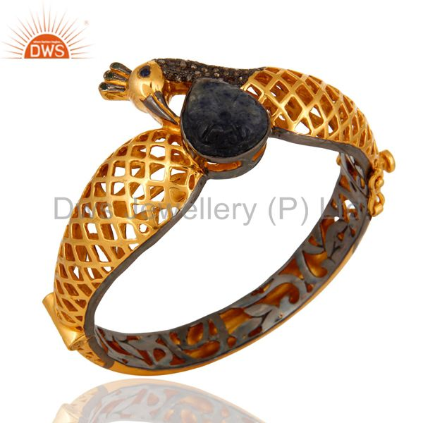 Supplier of Designer natural blue sapphire sterling silver pave diamond bangle