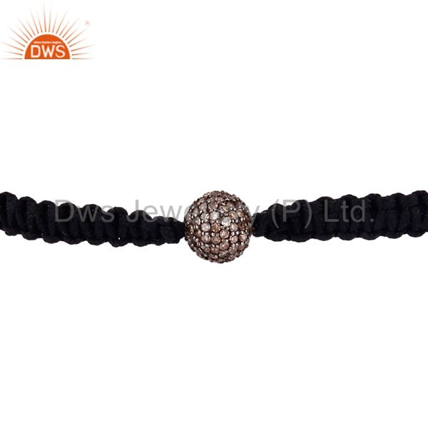 Exporter 18K Gold Sterling Silver Pave Set Diamond Beads Macrame Fashion Bracelet