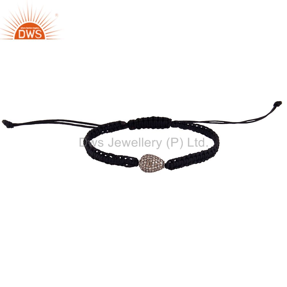 Exporter 925 Sterling Silver Diamond Pave Beads Fashion Macrame Black Cord Bracelet