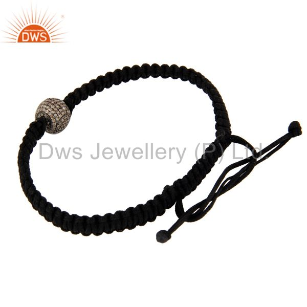 Exporter Macrame Fashion Braclet With 925 Sterling Silver Pave Diamond Beads