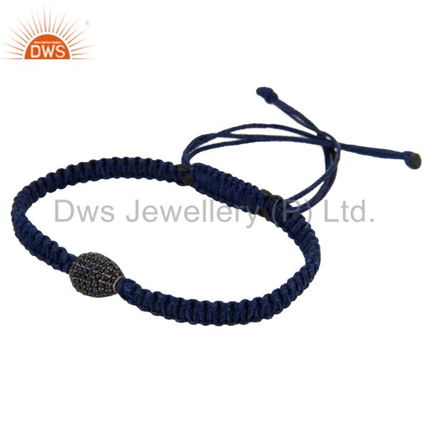 Wholesale 925 Sterling Silver Blue Sapphire Gemstone Bead Fashion Shamballa Bracelet