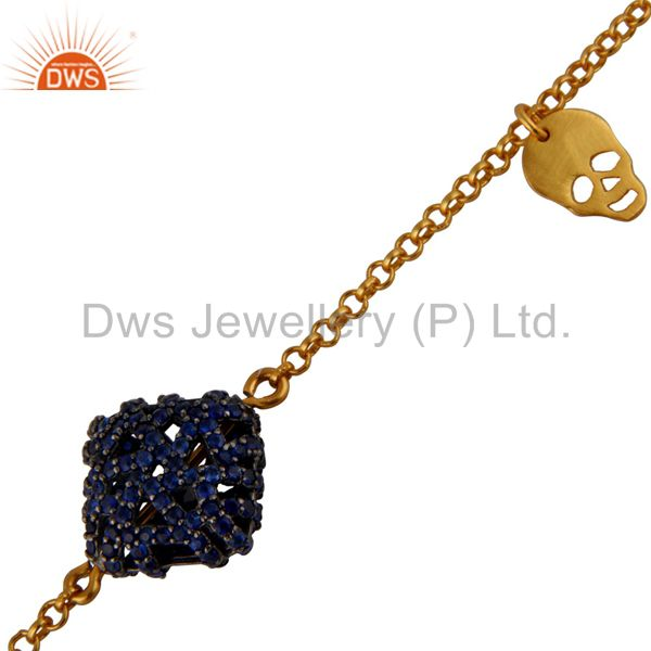 Exporter 18K Yellow Gold Plated Sterling Silver Sapphire Chain Bracelet With Skull Charms