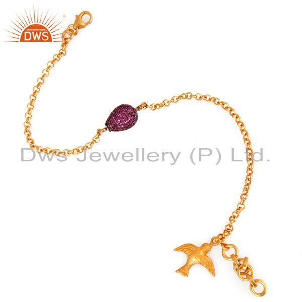 Exporter 18K Gold Over Silver Ruby Genuine Gemstone Pave Beads Chain Beautiful Bracelets