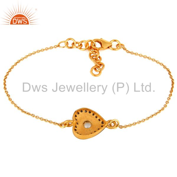 Exporter Gold Plated Sterling Silver Rose Cut Diamond Heart Charm Chain Style Bracelet