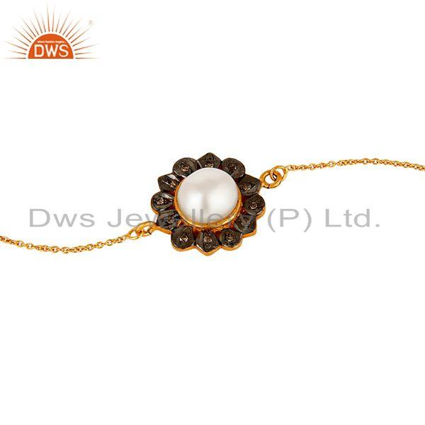 Exporter Pearl and Diamond 18K Gold Plated 925 Silver Bracelet with Adjustable Chain Link