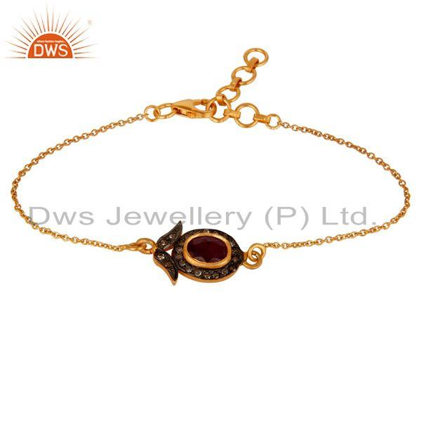 Exporter Ruby and Diamond 18K Gold Plated 925 Silver Bracelet with Adjustable Chain Link