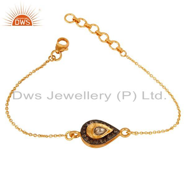 Exporter 18K Yellow Gold Plated 925 Silver Diamond Adjustable Chain Bracelet