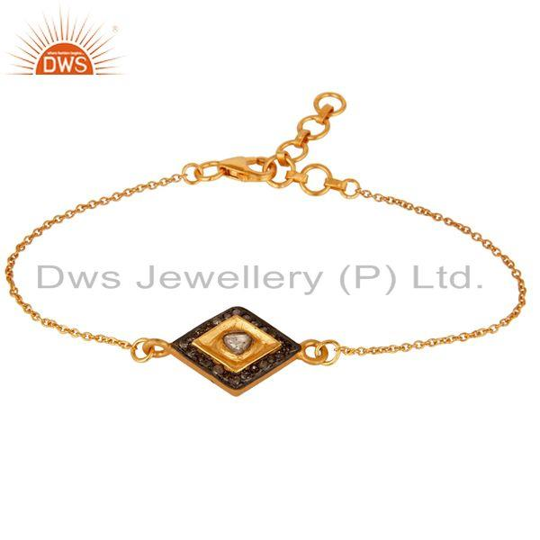 Exporter Real Diamond 18K Gold Plated Sterling Silver Bracelet with Adjustable Chain