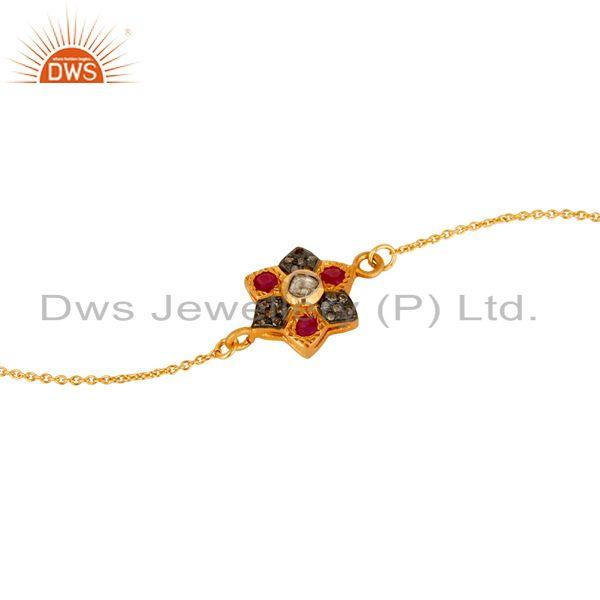 Exporter Diamond & Ruby With 18k Gold Plated Sterling Silver Bracelet