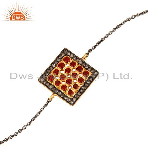 Supplier of Pave Diamond Garnet Gemstone Oxidized Sterling Silver Handmade Chain Bracelet