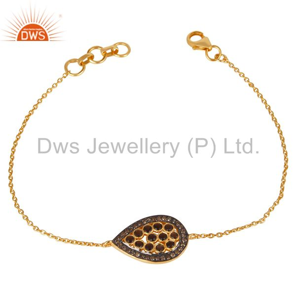 Exporter 14K Gold Plated Sterling Silver Handmade Pave Diamond & Smokey Chain Bracelet