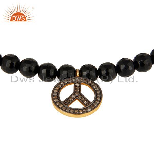 Exporter 6mm Faceted Black Onyx Beads Stretch Bracelet With Pave Diamond Peace Sign Charm