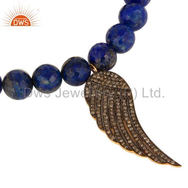 Exporter Lapis Lazuli Pave Diamond 18K Gold On Sterling Silver Angel Wing Charm Bracelet