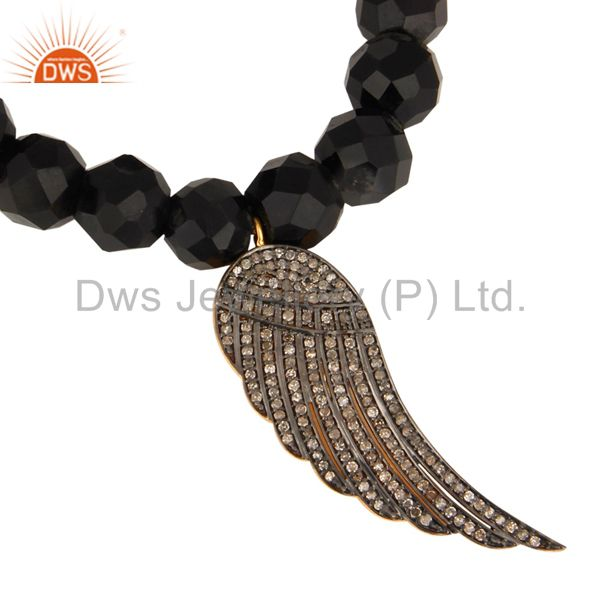 Exporter Black Onyx 925 Silver Pave Diamond Feather Angel Wings Charm Designer Bracelet