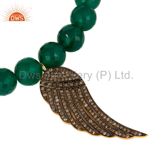 Exporter Green Onyx Gemstone Beaded Stretch Bracelet With Pave Diamond Wing Charms