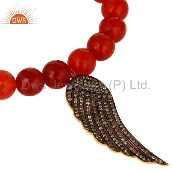 Exporter Faceted Red Onyx Gemstone Stretch Bracelet Silver Diamond Pave Angel Wings Charm