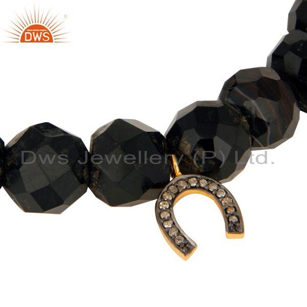 Exporter 925 Silver Pave Diamond Block Letter Charm U Faceted Black Onyx Beads Bracelet