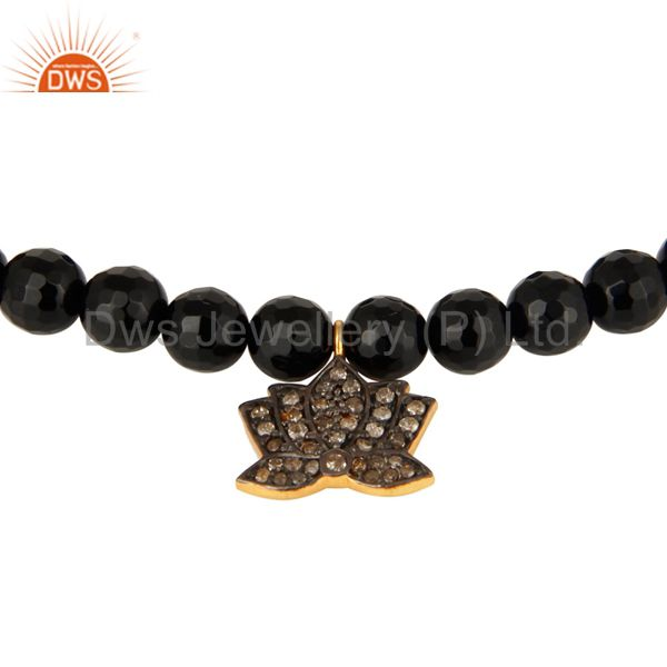 Exporter 18K Gold On 925 Silver Black Onyx Pave Diamond Lotus Flower Charm Yoga Bracelet
