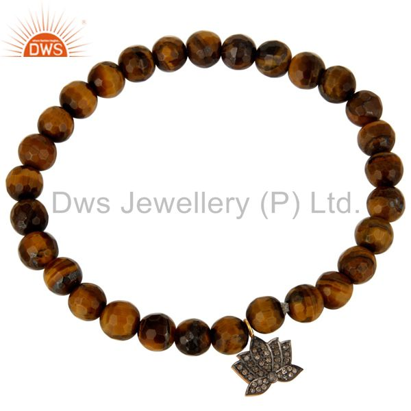 Exporter Faceted Tiger Eye Beads Stretch Bracelet With Pave Diamond Lotus Flower Charm