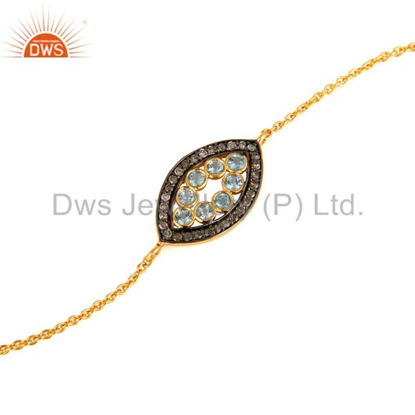 Exporter 18K Gold Plated Sterling Silver Chain Bracelet With Pave Diamond & Blue Topaz