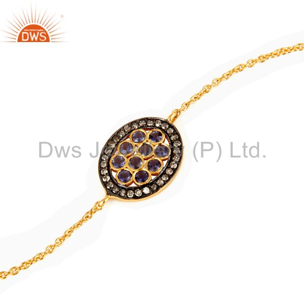 Manufacturer of Pave Diamond And Iolite Gemstone 18K Gold Over Sterling Silver Chain Bracelets
