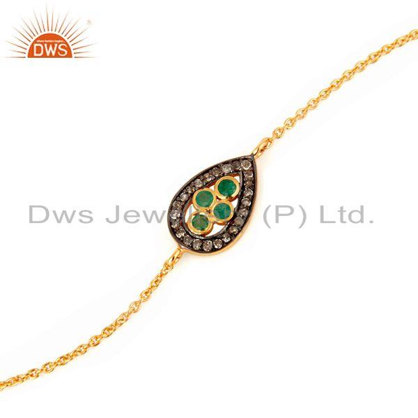Exporter 18K Gold On Sterling Silver Diamond Pave Emerald Gemstone Fashion Chain Bracelet